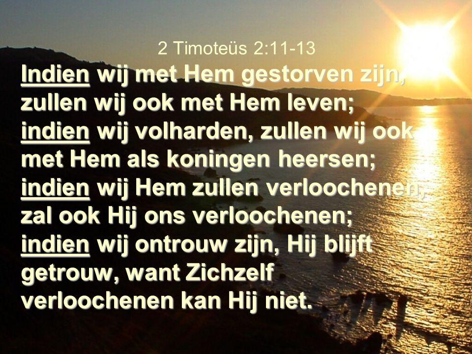 Indien wij met Hem gestorven zijn, zullen wij ook met Hem leven; indien wij volharden, zullen wij ook met Hem als koningen heersen; indien wij Hem zul