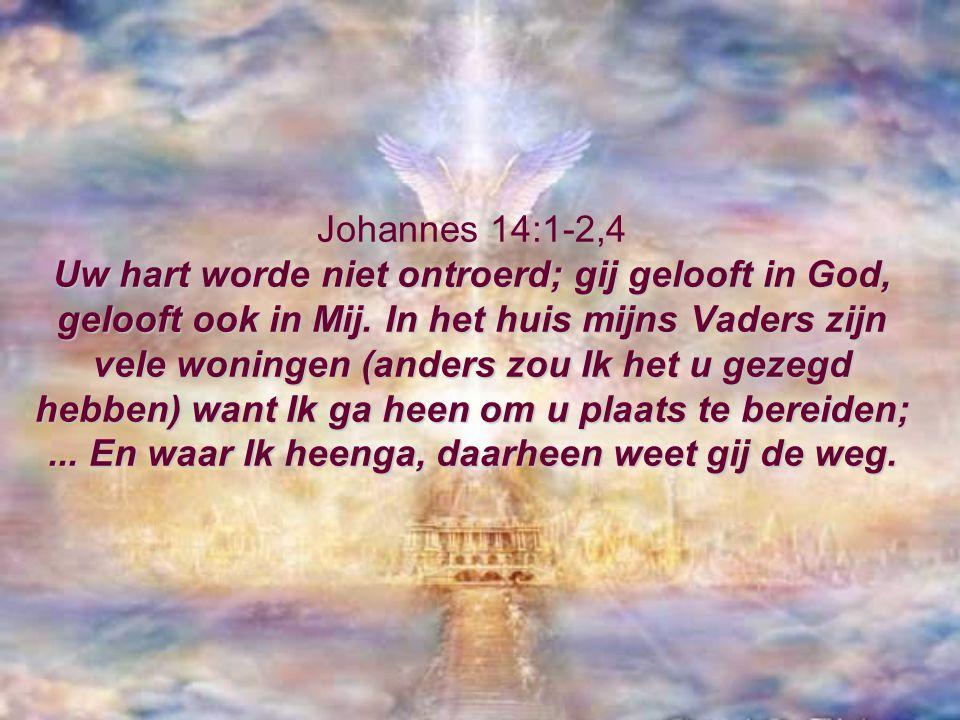 Uw hart worde niet ontroerd; gij gelooft in God, gelooft ook in Mij. In het huis mijns Vaders zijn vele woningen (anders zou Ik het u gezegd hebben) w