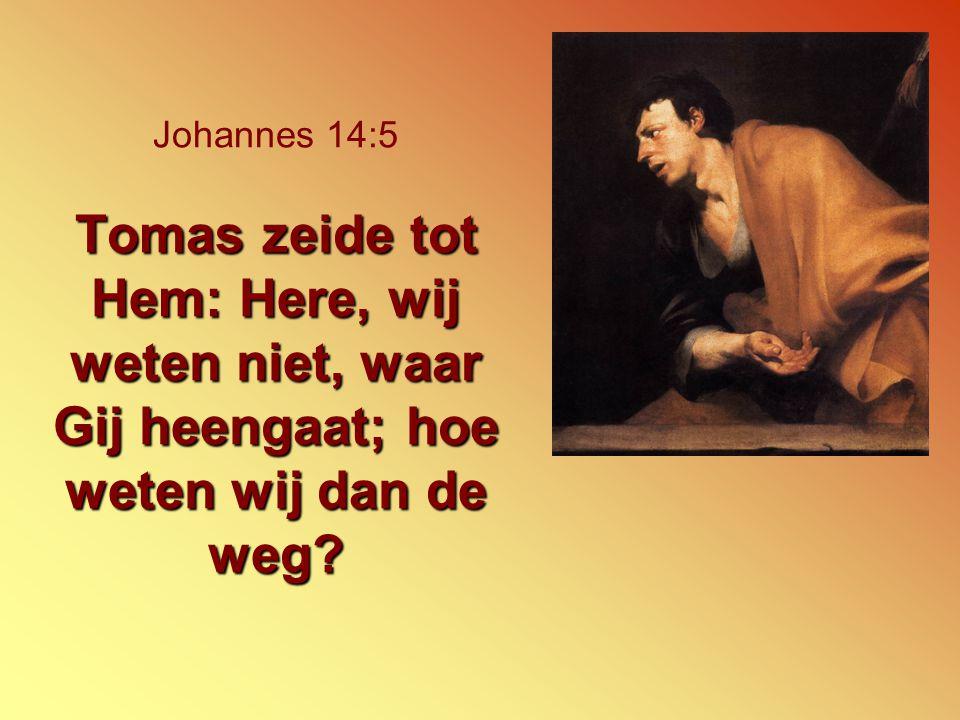 Tomas zeide tot Hem: Here, wij weten niet, waar Gij heengaat; hoe weten wij dan de weg? Johannes 14:5 Tomas zeide tot Hem: Here, wij weten niet, waar
