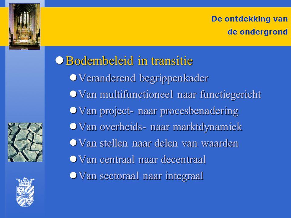 De ontdekking van de ondergrond Ontwikkelingen Bodem Ontwikkelingen Bodem Energie en bodem Energie en bodem Ondergronds bouwen Ondergronds bouwen Plannen voor de ondergrond Plannen voor de ondergrond Het belang van water Het belang van water EU komt er aan EU komt er aan Gebiedsgerichte aanpak Gebiedsgerichte aanpak