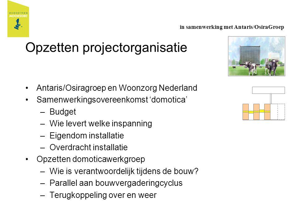 Opzetten projectorganisatie Antaris/Osiragroep en Woonzorg Nederland Samenwerkingsovereenkomst 'domotica' –Budget –Wie levert welke inspanning –Eigend