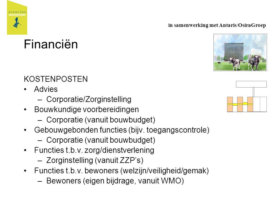Financiën KOSTENPOSTEN Advies –Corporatie/Zorginstelling Bouwkundige voorbereidingen –Corporatie (vanuit bouwbudget) Gebouwgebonden functies (bijv. to