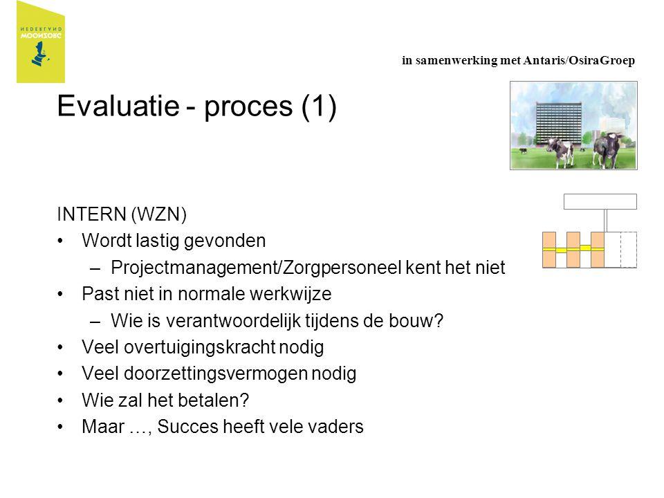 Evaluatie - proces (1) INTERN (WZN) Wordt lastig gevonden –Projectmanagement/Zorgpersoneel kent het niet Past niet in normale werkwijze –Wie is verant