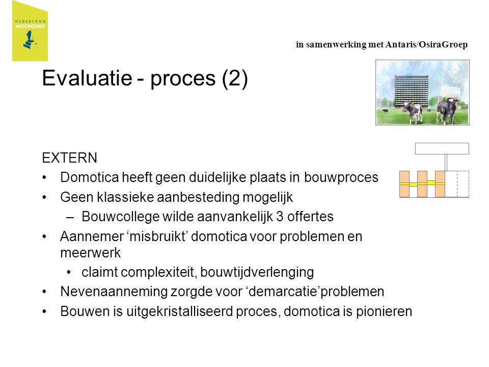 Evaluatie - proces (2) EXTERN Domotica heeft geen duidelijke plaats in bouwproces Geen klassieke aanbesteding mogelijk –Bouwcollege wilde aanvankelijk
