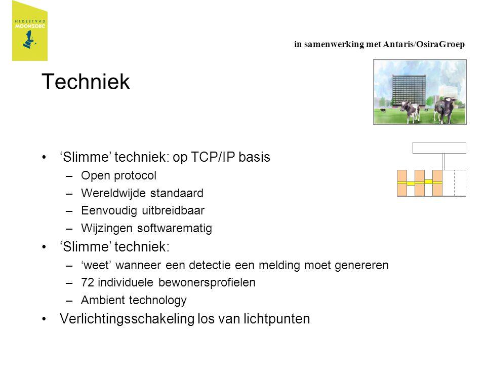 Techniek 'Slimme' techniek: op TCP/IP basis –Open protocol –Wereldwijde standaard –Eenvoudig uitbreidbaar –Wijzingen softwarematig 'Slimme' techniek: