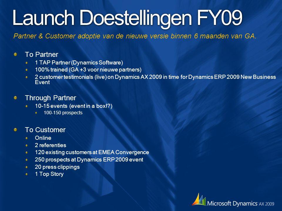 Launch Doestellingen FY09 Partner & Customer adoptie van de nieuwe versie binnen 6 maanden van GA. To Partner 1 TAP Partner (Dynamics Software) 100% t