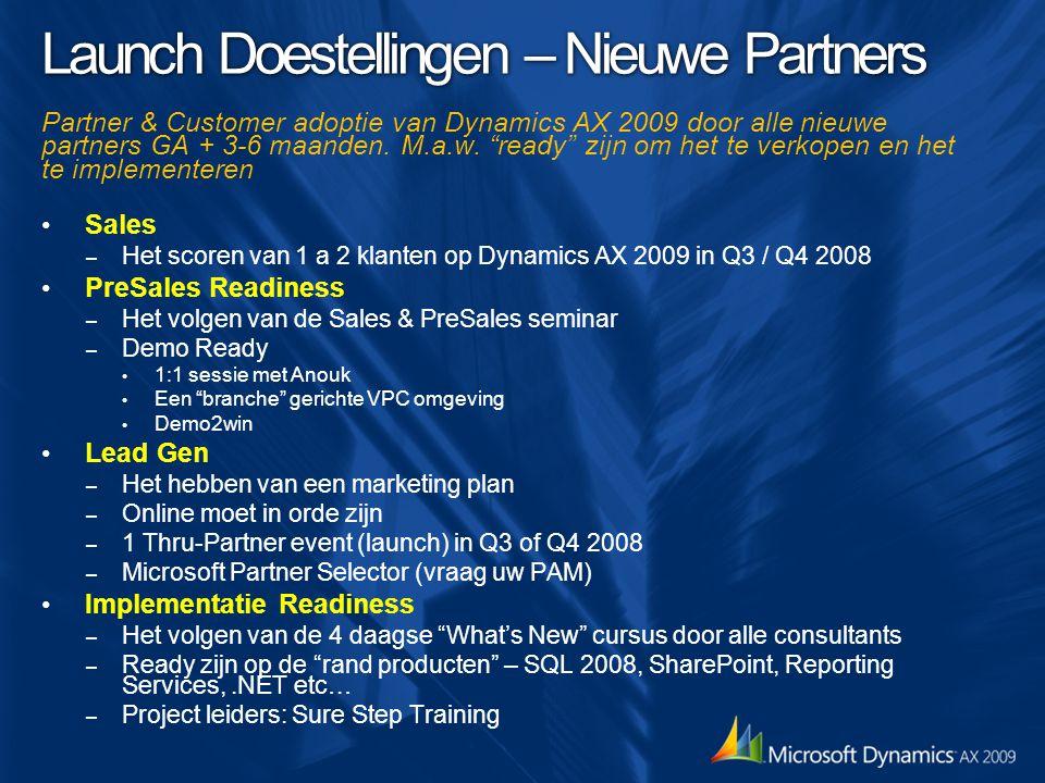 """Launch Doestellingen – Nieuwe Partners Partner & Customer adoptie van Dynamics AX 2009 door alle nieuwe partners GA + 3-6 maanden. M.a.w. """"ready"""" zijn"""