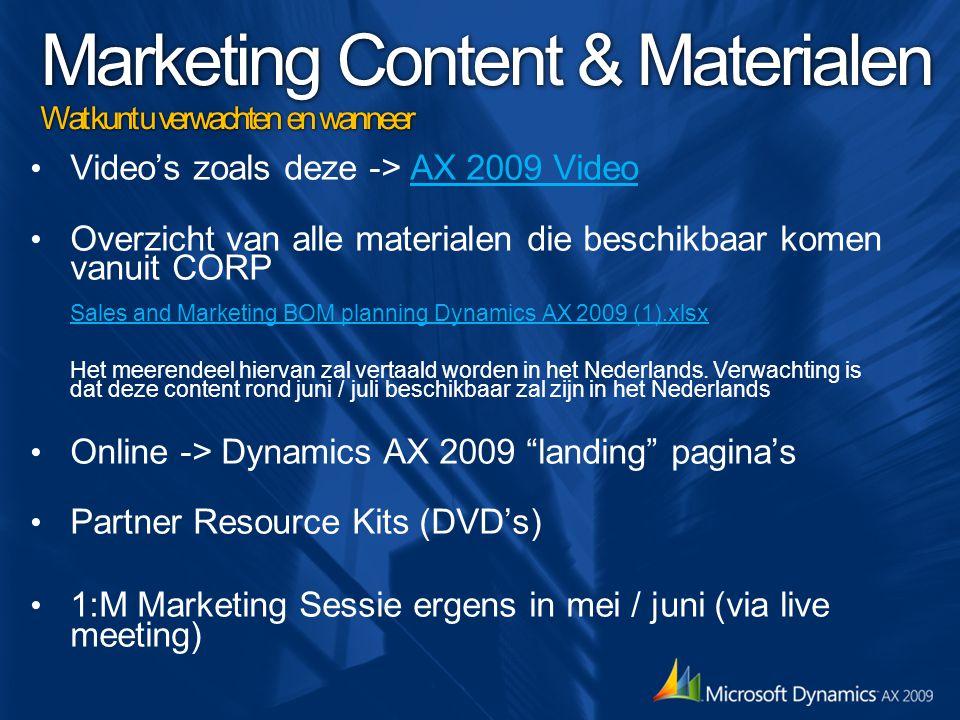 Marketing Content & Materialen Wat kunt u verwachten en wanneer Video's zoals deze -> AX 2009 VideoAX 2009 Video Overzicht van alle materialen die bes