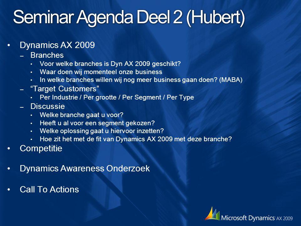 Seminar Agenda Deel 2 (Hubert) Dynamics AX 2009 – Branches Voor welke branches is Dyn AX 2009 geschikt? Waar doen wij momenteel onze business In welke