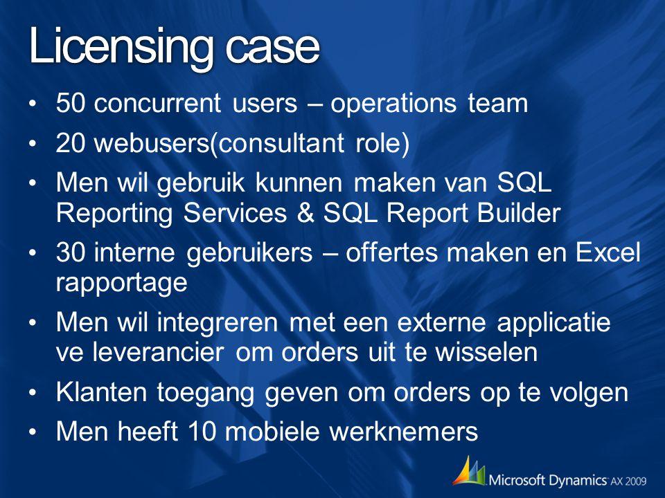 Licensing case 50 concurrent users – operations team 20 webusers(consultant role) Men wil gebruik kunnen maken van SQL Reporting Services & SQL Report