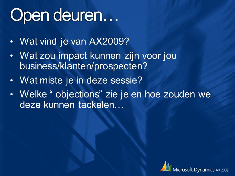 """Open deuren… Wat vind je van AX2009? Wat zou impact kunnen zijn voor jou business/klanten/prospecten? Wat miste je in deze sessie? Welke """" objections"""""""