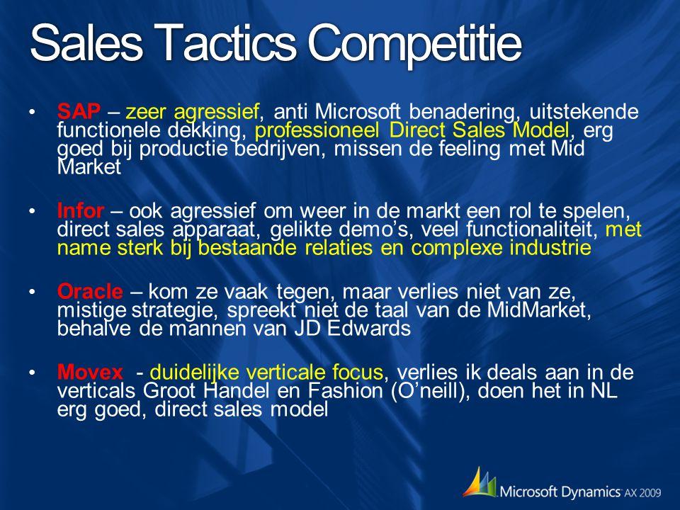 Sales Tactics Competitie SAP – zeer agressief, anti Microsoft benadering, uitstekende functionele dekking, professioneel Direct Sales Model, erg goed