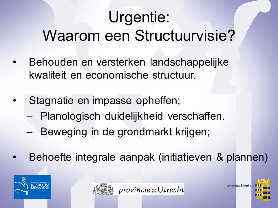 Urgentie: Waarom een Structuurvisie? Behouden en versterken landschappelijke kwaliteit en economische structuur. Stagnatie en impasse opheffen; –Plano