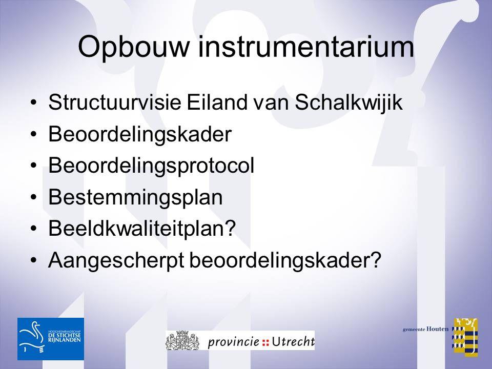 Opbouw instrumentarium Structuurvisie Eiland van Schalkwijik Beoordelingskader Beoordelingsprotocol Bestemmingsplan Beeldkwaliteitplan? Aangescherpt b