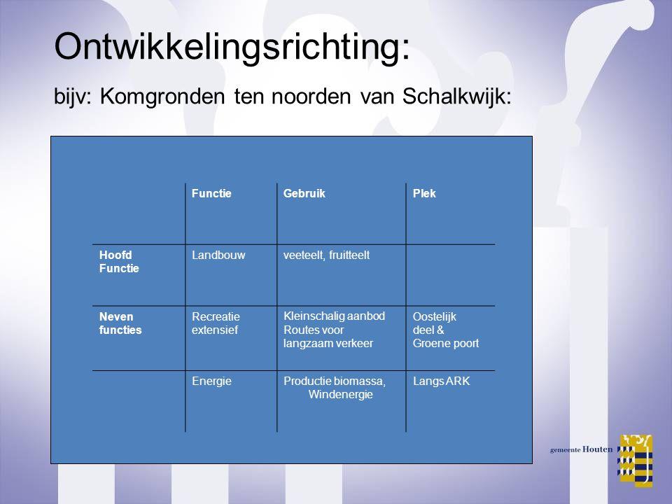 Ontwikkelingsrichting: bijv: Komgronden ten noorden van Schalkwijk: FunctieGebruikPlek Hoofd Functie Landbouwveeteelt, fruitteelt Neven functies Recre
