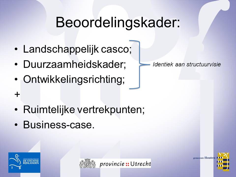 Beoordelingskader: Landschappelijk casco; Duurzaamheidskader; Ontwikkelingsrichting; + Ruimtelijke vertrekpunten; Business-case. Identiek aan structuu