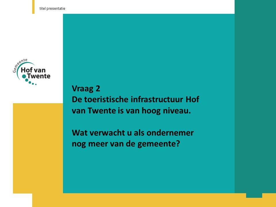 titel presentatie Vraag 2 De toeristische infrastructuur Hof van Twente is van hoog niveau.