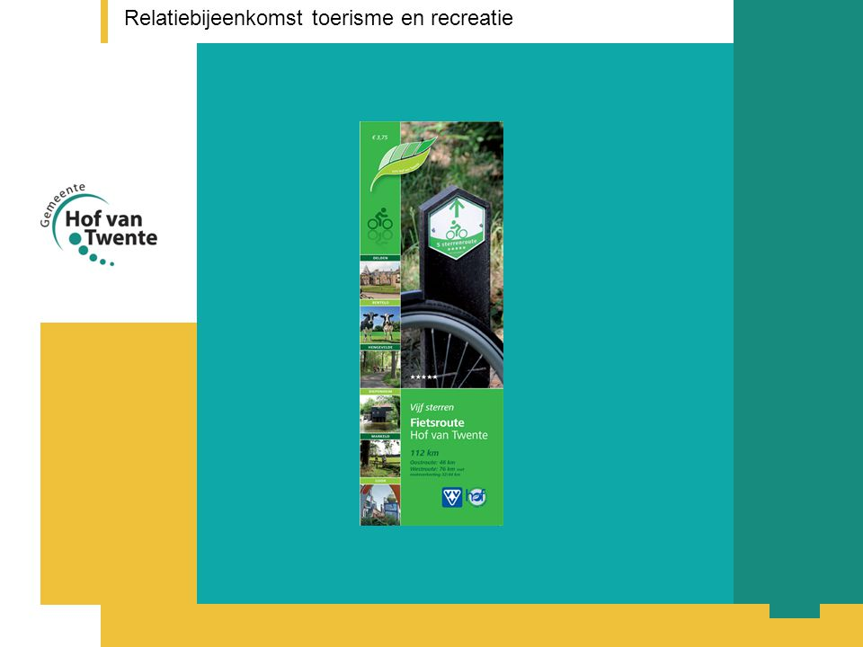 titel presentatie Relatiebijeenkomst toerisme en recreatie Vragen voor ondernemers Vraag 1 Wat zijn volgens u de taken van VVV Hof van Twente als het gaat om: - ontvangst - winkel - informatie - productontwikkeling - promotie Wat is uw eigen rol als ondernemer op dit gebied.