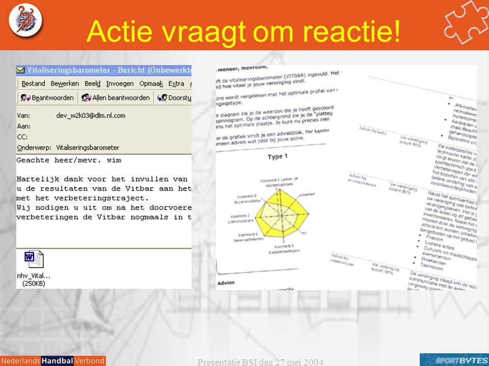 Presentatie BSI dag 27 mei 2004 Actie vraagt om reactie!