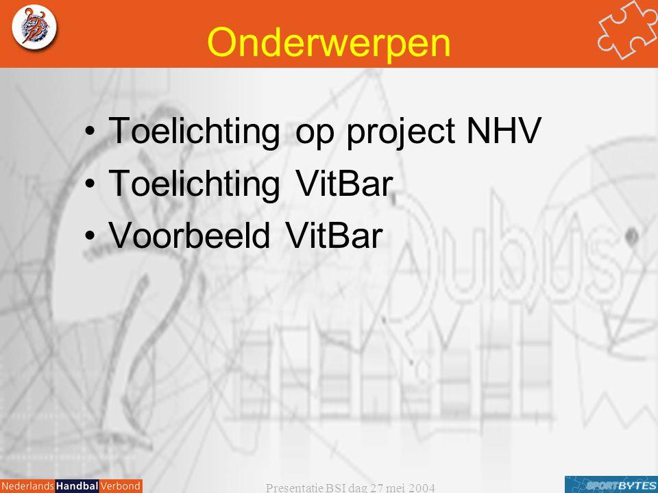 Presentatie BSI dag 27 mei 2004 Onderwerpen Toelichting op project NHV Toelichting VitBar Voorbeeld VitBar