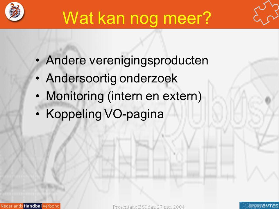 Presentatie BSI dag 27 mei 2004 Wat kan nog meer? Andere verenigingsproducten Andersoortig onderzoek Monitoring (intern en extern) Koppeling VO-pagina