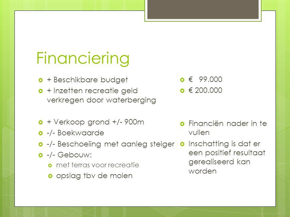 Financiering  + Beschikbare budget  + Inzetten recreatie geld verkregen door waterberging  + Verkoop grond +/- 900m  -/- Boekwaarde  -/- Beschoeiing met aanleg steiger  -/- Gebouw:  met terras voor recreatie  opslag tbv de molen  € 99.000  € 200.000  Financiën nader in te vullen  Inschatting is dat er een positief resultaat gerealiseerd kan worden