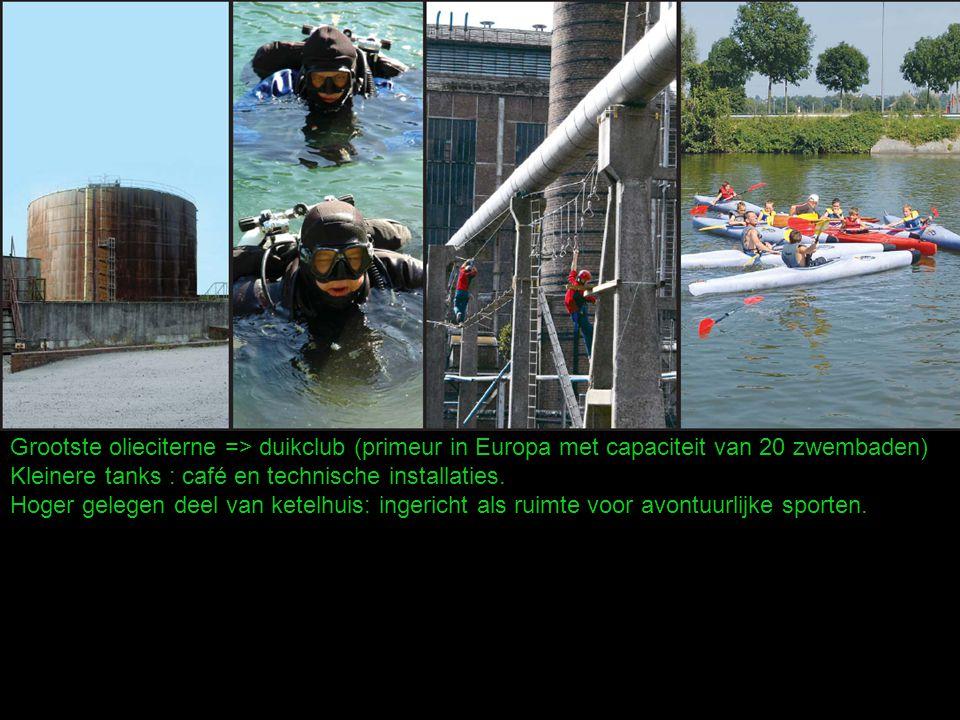 Grootste olieciterne => duikclub (primeur in Europa met capaciteit van 20 zwembaden) Kleinere tanks : café en technische installaties.