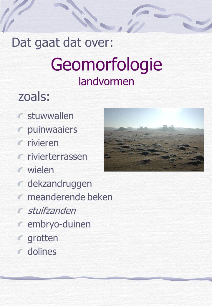 Geomorfologie landvormen stuwwallen puinwaaiers rivieren rivierterrassen wielen dekzandruggen meanderende beken stuifzanden embryo-duinen grotten doli