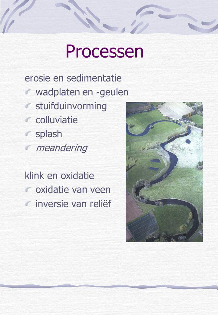 Processen erosie en sedimentatie wadplaten en -geulen stuifduinvorming colluviatie splash meandering klink en oxidatie oxidatie van veen inversie van