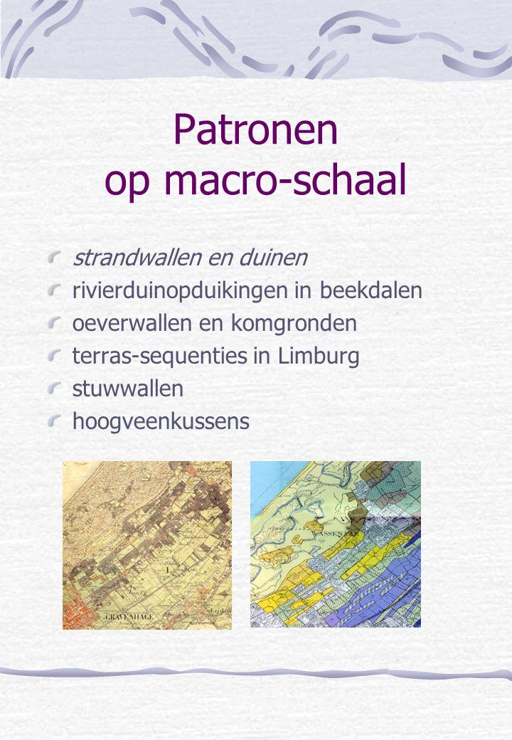 Patronen op macro-schaal strandwallen en duinen rivierduinopduikingen in beekdalen oeverwallen en komgronden terras-sequenties in Limburg stuwwallen h