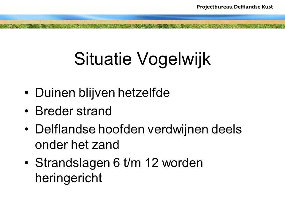 Situatie Vogelwijk Duinen blijven hetzelfde Breder strand Delflandse hoofden verdwijnen deels onder het zand Strandslagen 6 t/m 12 worden heringericht