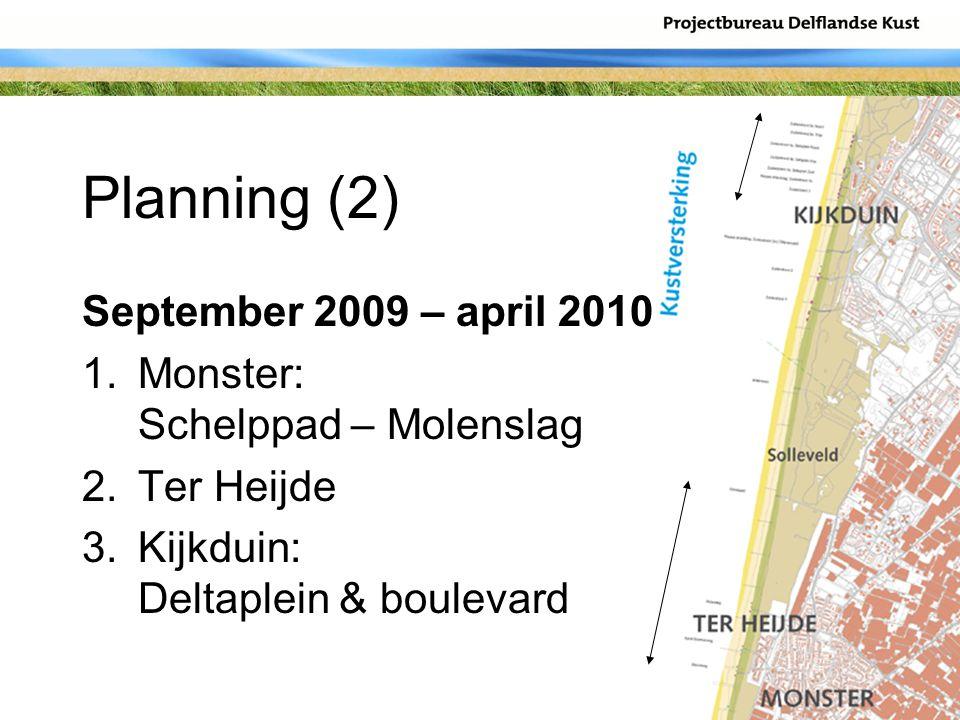 Planning (2) September 2009 – april 2010 1.Monster: Schelppad – Molenslag 2.Ter Heijde 3.Kijkduin: Deltaplein & boulevard