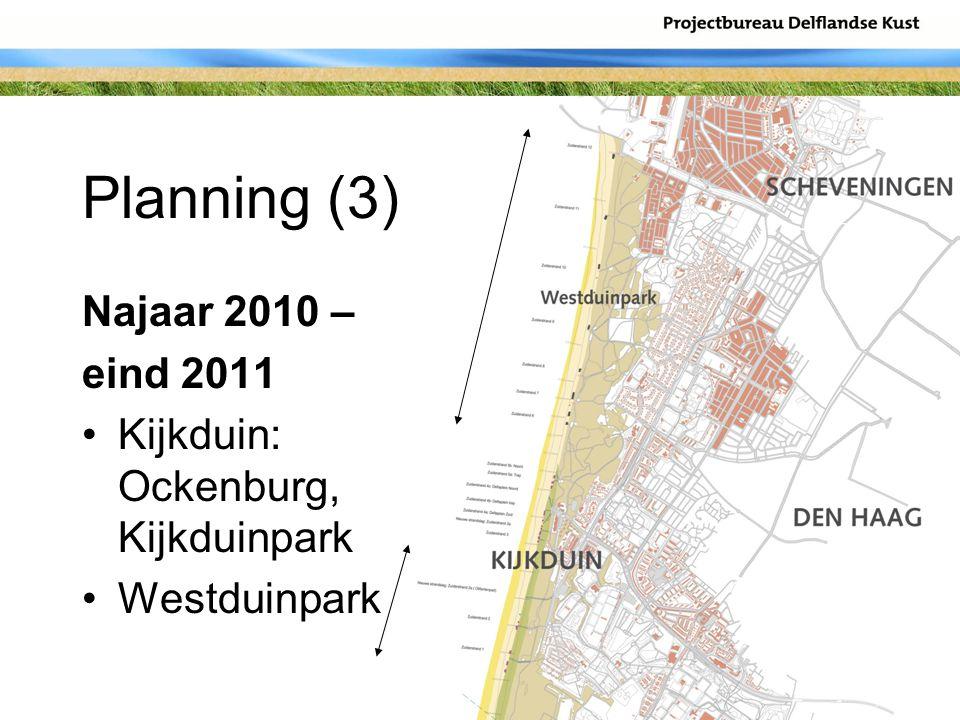 Planning (3) Najaar 2010 – eind 2011 Kijkduin: Ockenburg, Kijkduinpark Westduinpark
