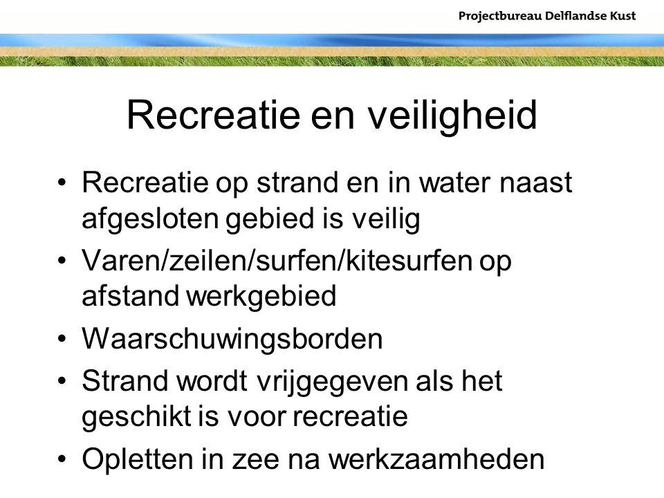 Recreatie en veiligheid Recreatie op strand en in water naast afgesloten gebied is veilig Varen/zeilen/surfen/kitesurfen op afstand werkgebied Waarsch