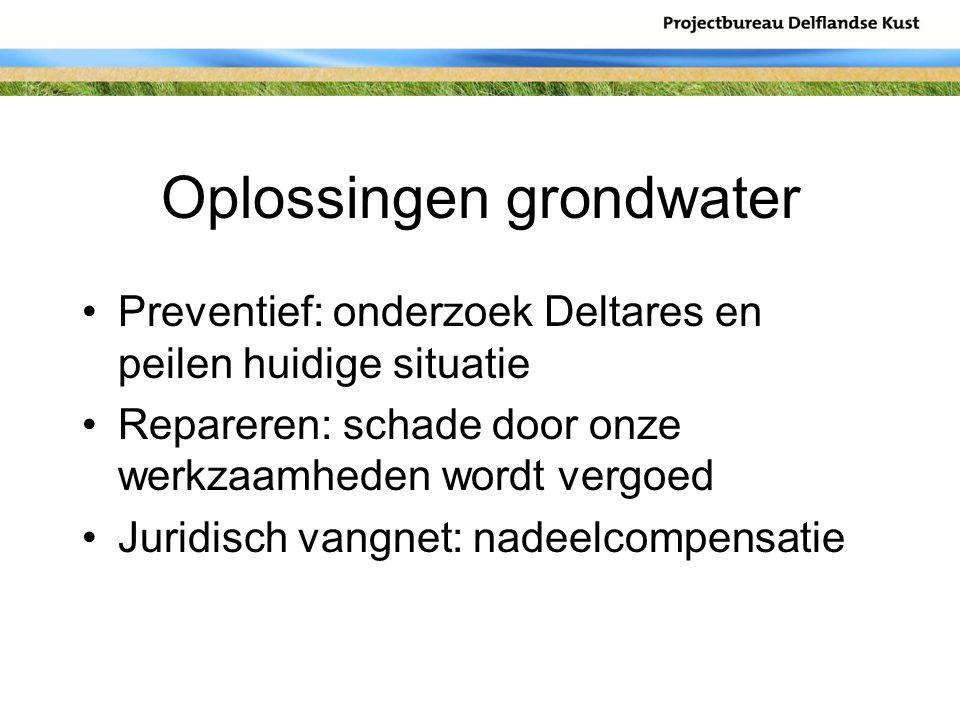 Oplossingen grondwater Preventief: onderzoek Deltares en peilen huidige situatie Repareren: schade door onze werkzaamheden wordt vergoed Juridisch van