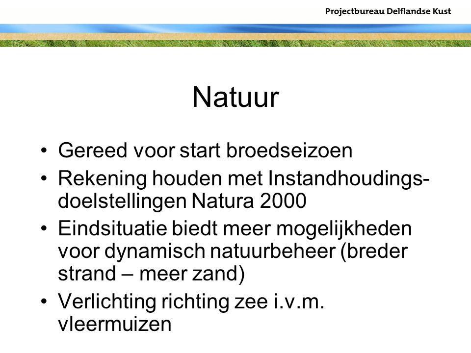 Natuur Gereed voor start broedseizoen Rekening houden met Instandhoudings- doelstellingen Natura 2000 Eindsituatie biedt meer mogelijkheden voor dynam