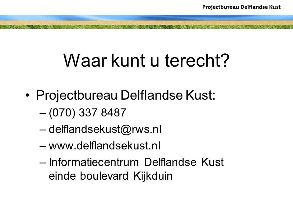 Waar kunt u terecht? Projectbureau Delflandse Kust: –(070) 337 8487 –delflandsekust@rws.nl –www.delflandsekust.nl –Informatiecentrum Delflandse Kust e