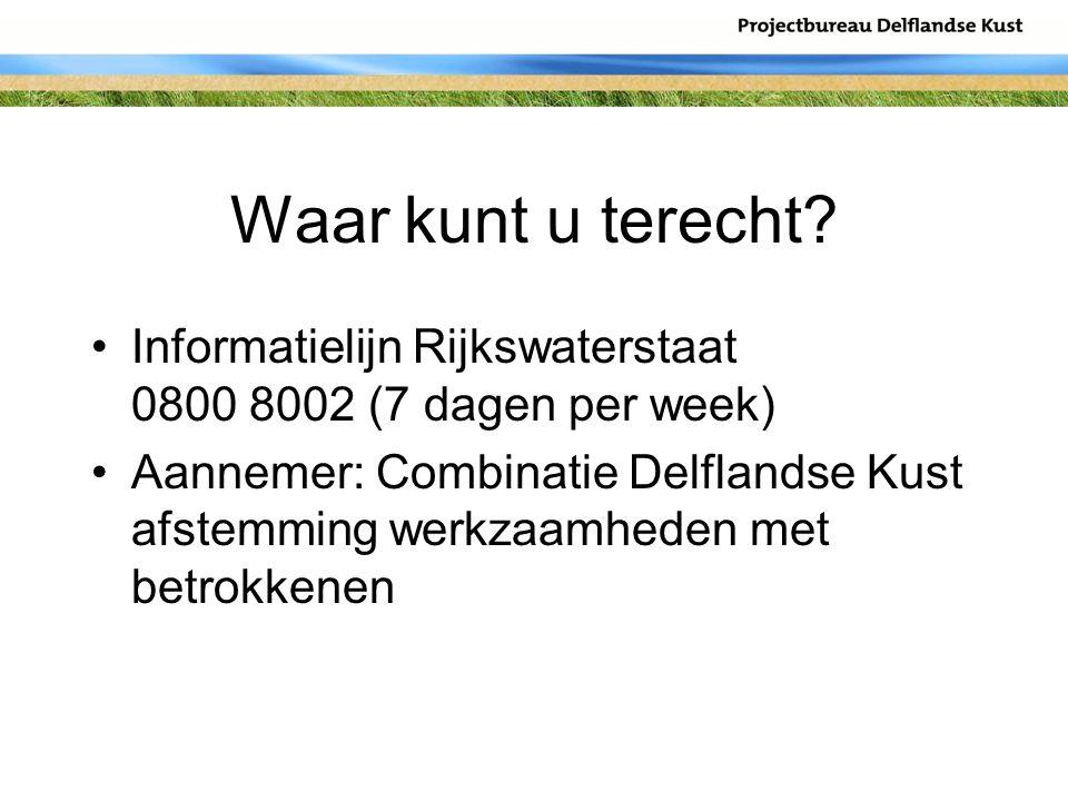 Waar kunt u terecht? Informatielijn Rijkswaterstaat 0800 8002 (7 dagen per week) Aannemer: Combinatie Delflandse Kust afstemming werkzaamheden met bet