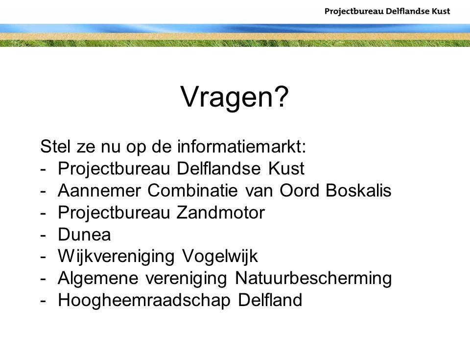 Vragen? Stel ze nu op de informatiemarkt: -Projectbureau Delflandse Kust -Aannemer Combinatie van Oord Boskalis -Projectbureau Zandmotor -Dunea -Wijkv