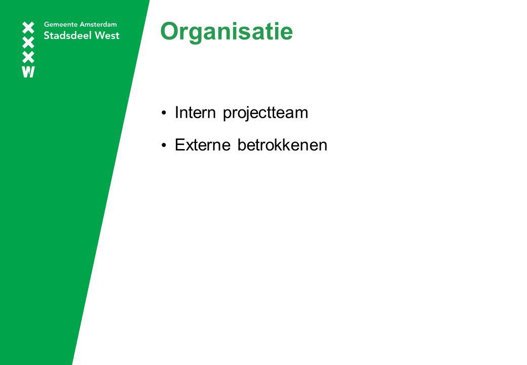 Organisatie Intern projectteam Externe betrokkenen