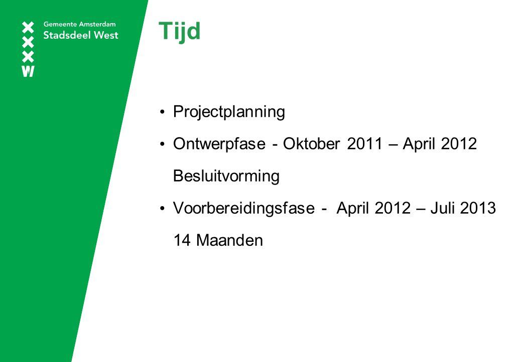 Tijd Projectplanning Ontwerpfase - Oktober 2011 – April 2012 Besluitvorming Voorbereidingsfase - April 2012 – Juli 2013 14 Maanden