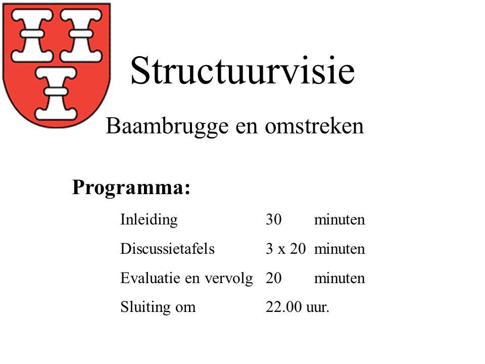 Structuurvisie Programma: Inleiding30 minuten Discussietafels 3 x 20 minuten Evaluatie en vervolg20minuten Sluiting om22.00 uur.