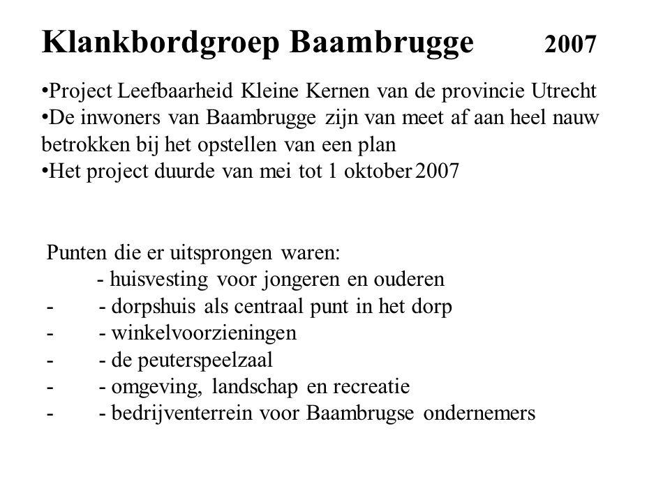 Klankbordgroep Baambrugge 2007 Project Leefbaarheid Kleine Kernen van de provincie Utrecht De inwoners van Baambrugge zijn van meet af aan heel nauw betrokken bij het opstellen van een plan Het project duurde van mei tot 1 oktober 2007 Punten die er uitsprongen waren: - huisvesting voor jongeren en ouderen - - dorpshuis als centraal punt in het dorp - - winkelvoorzieningen - - de peuterspeelzaal - - omgeving, landschap en recreatie - - bedrijventerrein voor Baambrugse ondernemers