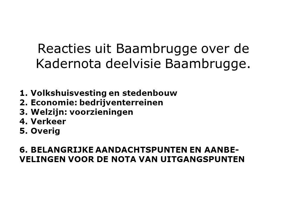 Reacties uit Baambrugge over de Kadernota deelvisie Baambrugge.