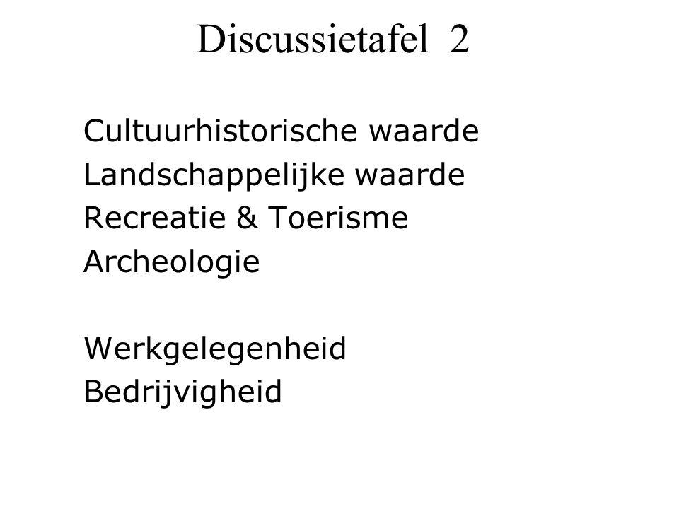Discussietafel 2 Cultuurhistorische waarde Landschappelijke waarde Recreatie & Toerisme Archeologie Werkgelegenheid Bedrijvigheid