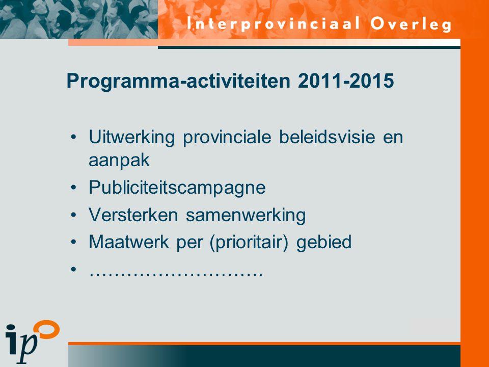 Subtitel Uitwerking provinciale beleidsvisie en aanpak Publiciteitscampagne Versterken samenwerking Maatwerk per (prioritair) gebied ……………………….