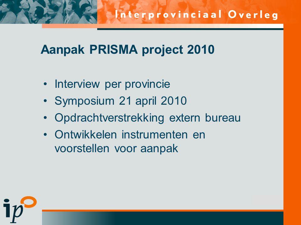 Subtitel Interview per provincie Symposium 21 april 2010 Opdrachtverstrekking extern bureau Ontwikkelen instrumenten en voorstellen voor aanpak Aanpak PRISMA project 2010