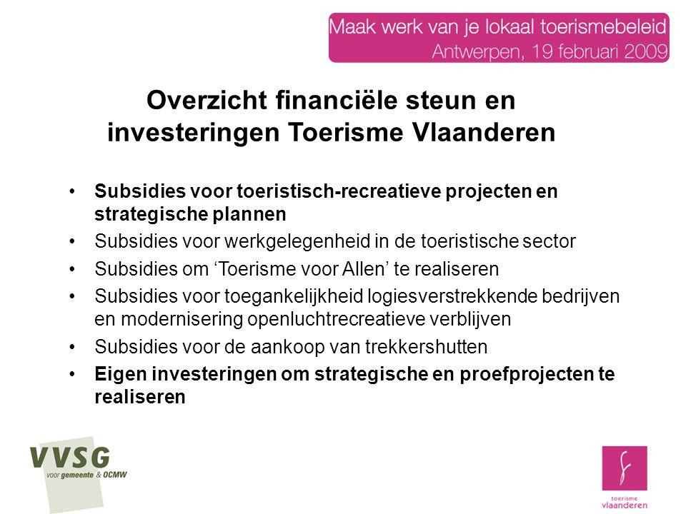 Wettelijk kader: het besluit van de Vlaamse regering van 2 april 2004 betreffende de erkenning en financiële ondersteuning van toeristisch-recreatieve projecten (TRP) en strategische plannen Besluit vertaald in richtlijnen (infobrochure en richtlijn B.S.) Besluit vervangt het KB van 14 februari 1967 op de toeristische uitrusting Regelgeving