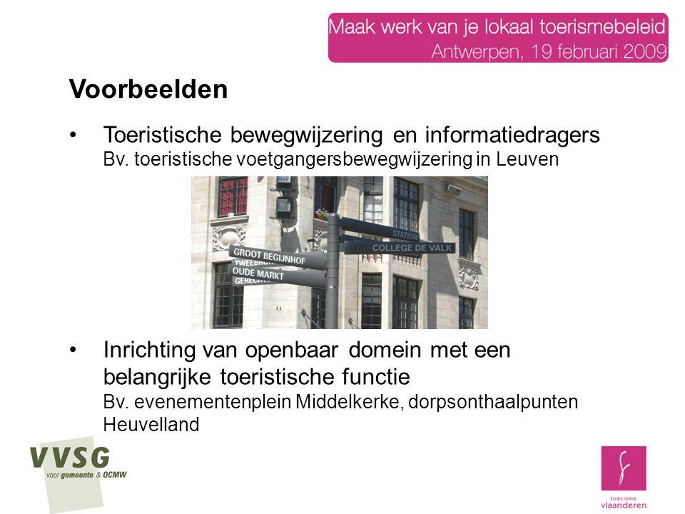 Toeristische bewegwijzering en informatiedragers Bv. toeristische voetgangersbewegwijzering in Leuven Inrichting van openbaar domein met een belangrij