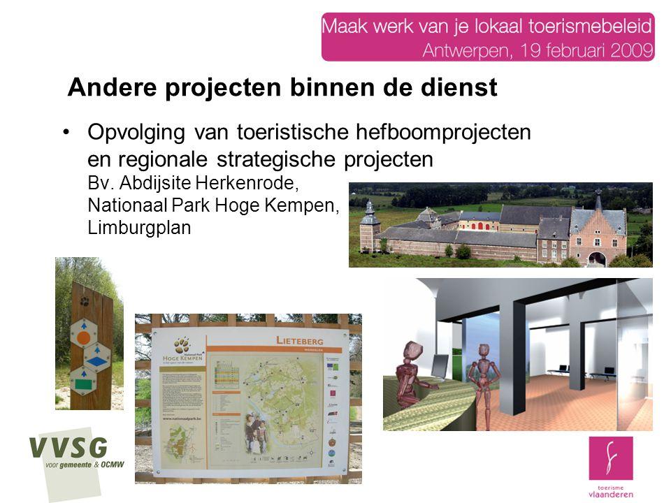 Opvolging van toeristische hefboomprojecten en regionale strategische projecten Bv. Abdijsite Herkenrode, Nationaal Park Hoge Kempen, Limburgplan Ande